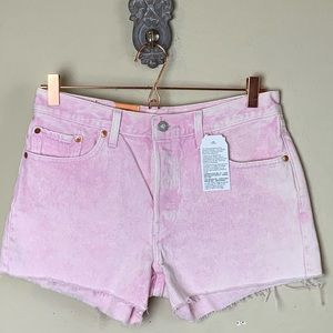 New 501 Levi's pink cut off jean shorts